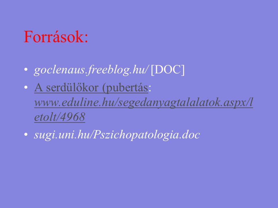 Források: goclenaus.freeblog.hu/ [DOC]